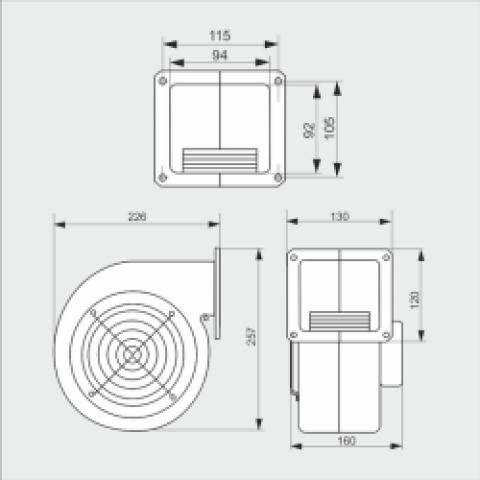 Вентилятор для твердотопливного котла К 117 аналог WPA 160