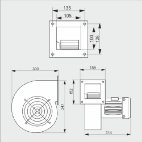 Вентилятор CMB2/200 для твердотопливного котла, надувной