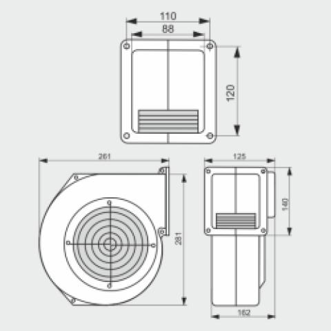 Вентилятор для твердотопливного котла G2E 180К (r2e 180) с клапаном-заслонкой